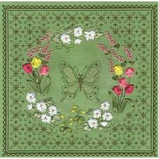 Набор для вышивания Panna Ц-0736 Цветочный узор.Бабочка