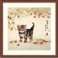 """Набор для вышивания крестом XIU CRAFTS 2801603 """"Котик и листья"""""""