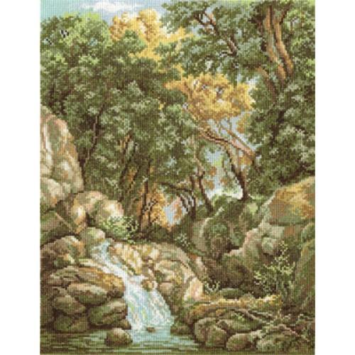 Вышивка водопад в лесу